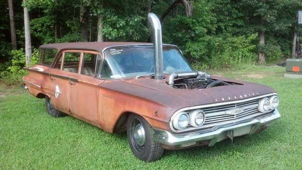 This 1960 Chevy Wagon Has An Exhaust Stack, A Cummins Diesel Engine, And Not A Lick Of Paint – We Love It