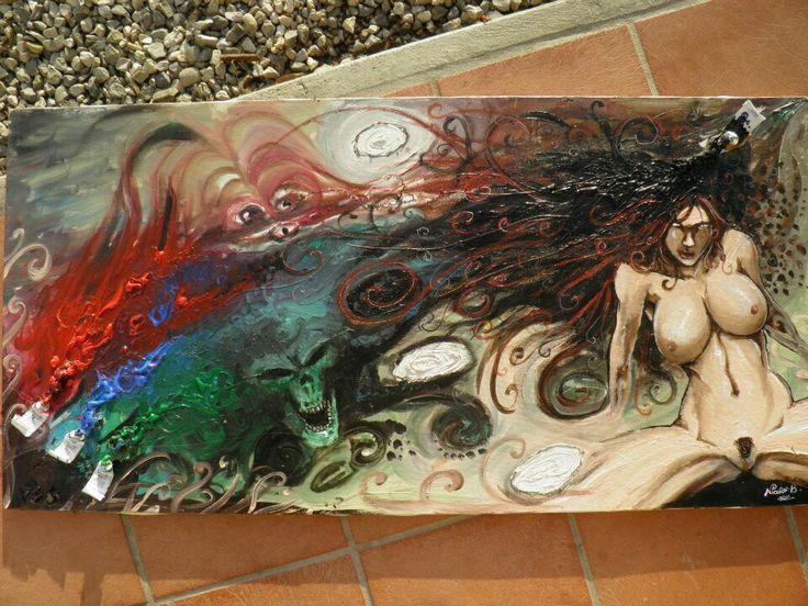 Astratto nude girl acrilico su tela