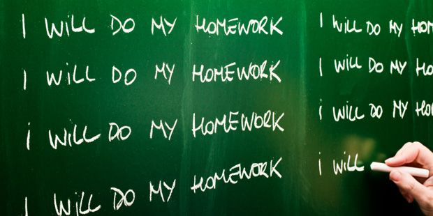 This visual shows the need for students to do their own work. These days it is so easy to find everything online. The representation of writing it out on a chalkboard also goes back to the manual labor part of homework. (6840)