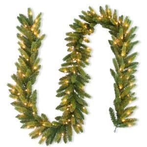 National Tree Company 9 ft. FEEL-REAL Jersey Fraser Fir Artificial Garland with 100 Clear Lights-PEJF8-310-9A-1 - The Home Depot