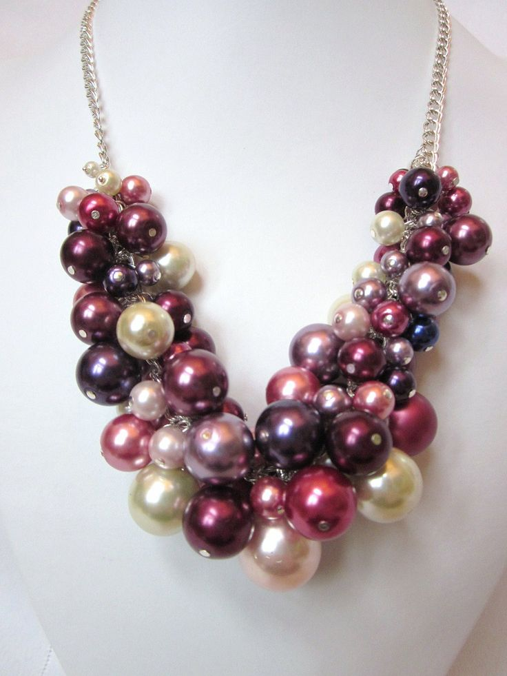 Pearl Cluster Necklace in Shades of Rose and Violet - Chunky, Choker, Bib, Necklace, Wedding, Bridal, Bridesmaid