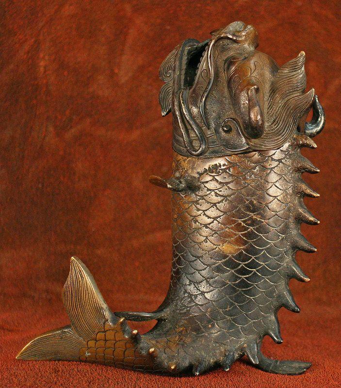 Japanese Dragon Fish Bronze Incense Burner Item 1084249 Detailed Views Dragon Fish Japanese Incense Japanese Dragon