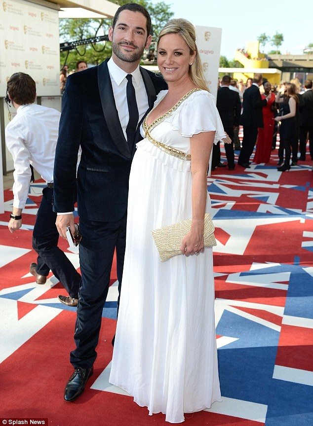Tamzin Outhwaite looking absolutely beautiful in a white and gold Temperley gown.