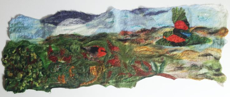 My latest piece of felting featuring Australian red winged parrot