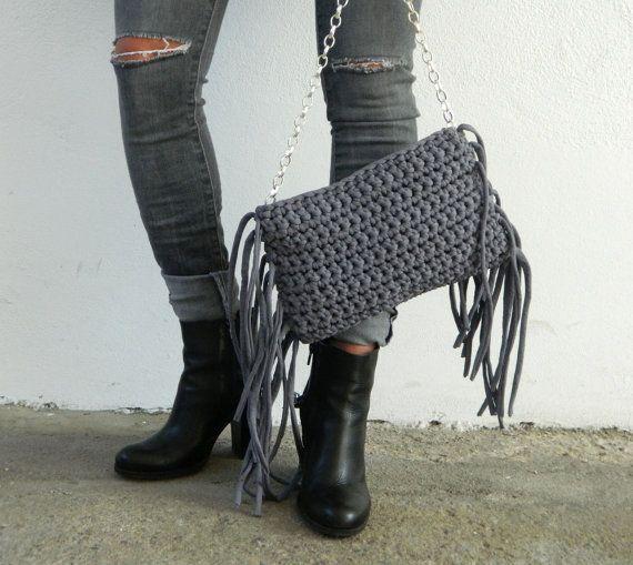 boho fringe bag/crochet bag /fringe bag/violet grey by lecosedites
