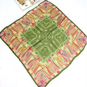 Vintage Green Totem Pattern Large Silk Square Scarf