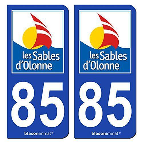 2 Stickers de plaque d'immatriculation auto 85100 Les Sables d'Olonne – Ville: Jeu de 2 stickers, blasons autocollants pour plaques…