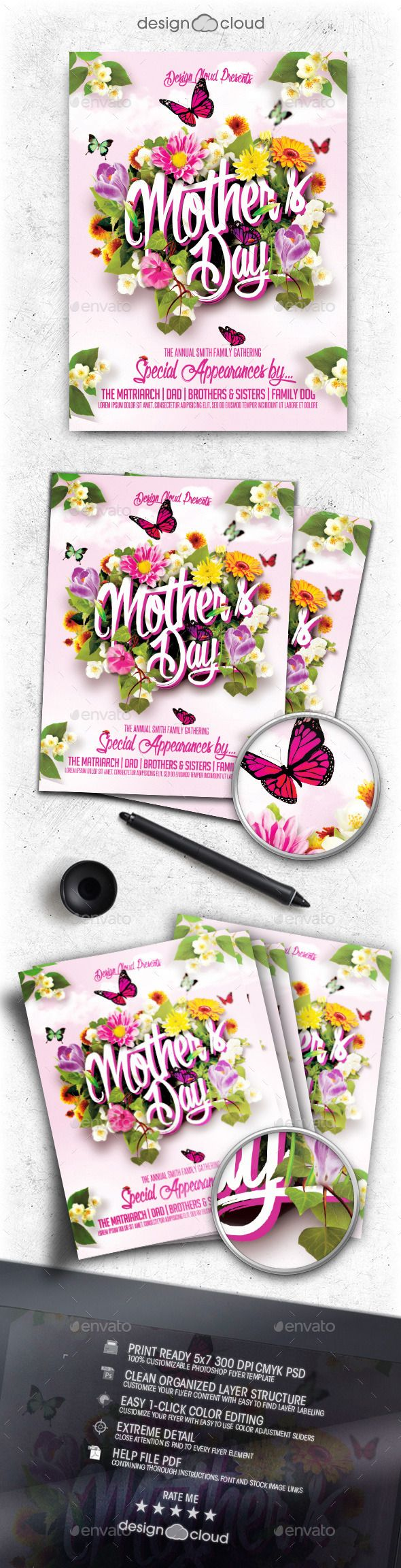 Mother's Day Flyer Template — Photoshop PSD #mother #butterfly • Available here → https://graphicriver.net/item/mothers-day-flyer-template/11274198?ref=pxcr
