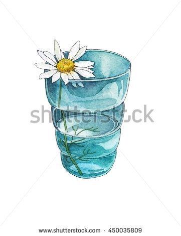 Chamomile - a hand-drawn watercolor illustration of little chamomile in the glass