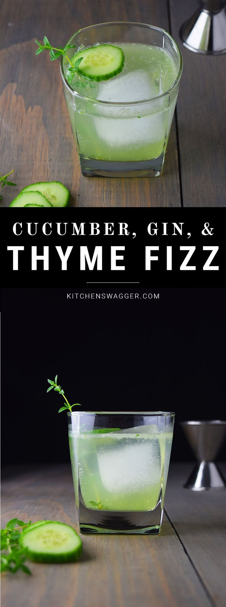 The cucumber, gin, and thyme fizz is a light, slightly sweet, and refreshing cocktail that is perfect for a summer day. Gin, lime, fresh cucumbers, and thyme.