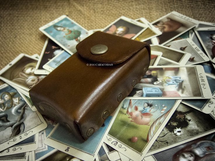Tarot mini cards, mini deck, Lenormand cards, leather case, playing cards, divination tools, leather pouch, card holder antique brown by TarotLeatherBags on Etsy