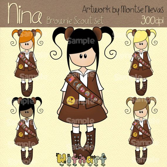 Brownie girl scout Nina dolls 0226 digital clip art set by Withart, $4.50