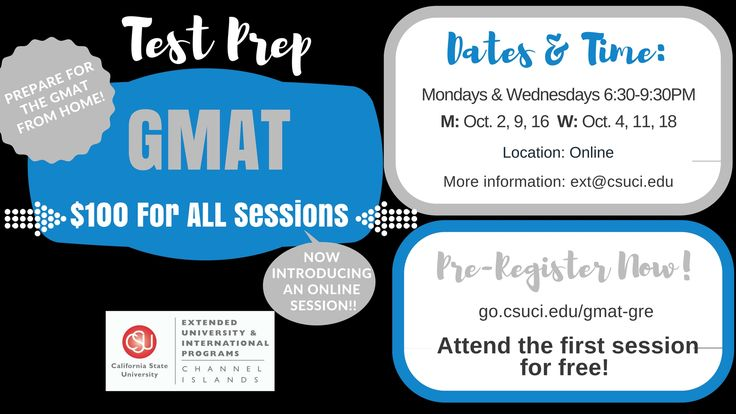 Preparing to apply for a graduate degree? Our low-cost GMAT test prep courses provide 18 hours of instruction - and the first class is free! Courses are offered at various times and locations throughout the year. #CSUCIExt
