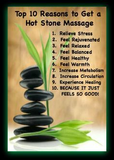 Top 10 Reasons to Get a Hot Stone Massage.  It is the best #massage you will ever have! Can't wait until my next one.  Always Always take my SPA POCKET with me to any #spa.  Everyone should have their very own!  Makes great #gifts!  www.SpaPocket.com $24.99