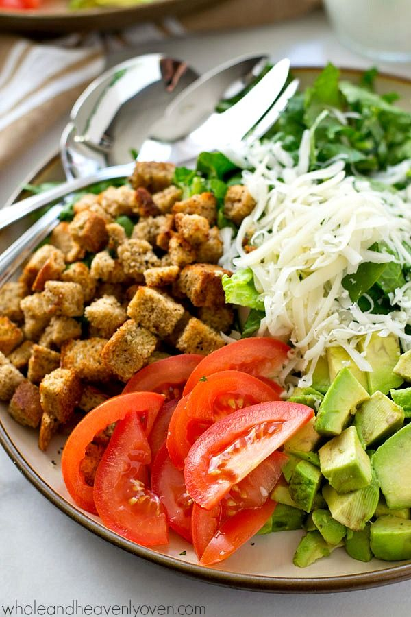 Avocado Spinach Caesar Salad With Light Buttermilk Dressing Recipe With Images Pasta Side Dishes Salad Side Dish Recipes