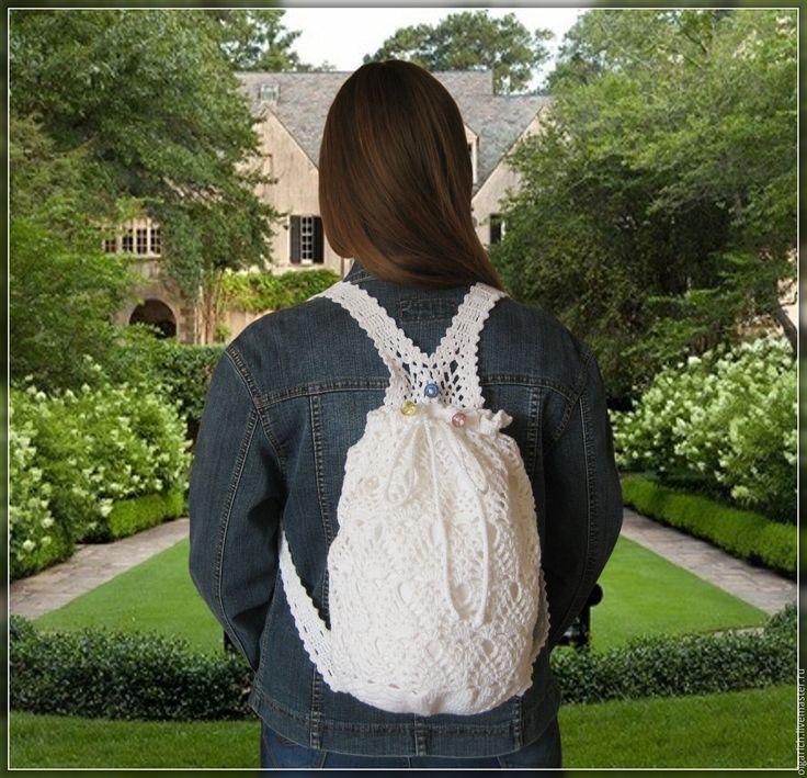 """Купить """"Облака на лямках"""" трансформер - рюкзак/сумка - рюкзак, рюкзак женский, рюкзачок, ажурная сумка"""