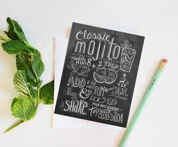 Mojito Recipe Card  Hand Drawn Card  Chalkboard Card by LilyandVal, $3.50   On large chalk boards behind the bar on the wall.