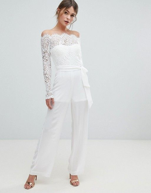 585fc9be89e Lioness off shoulder lace top wide leg jumpsuit in 2019 | Trou Rokke ...