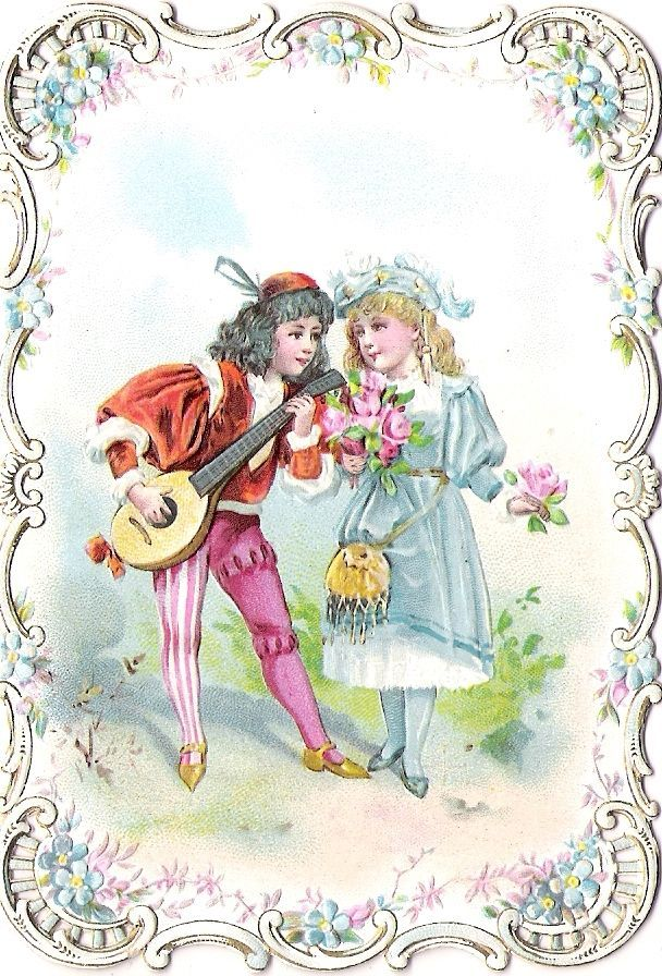 Oblaten Glanzbild scrap die cut chromo Karte card Kind child Paar couple
