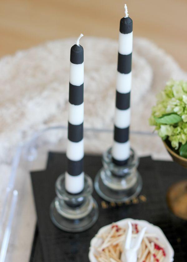 striped halloween candlestick // diy