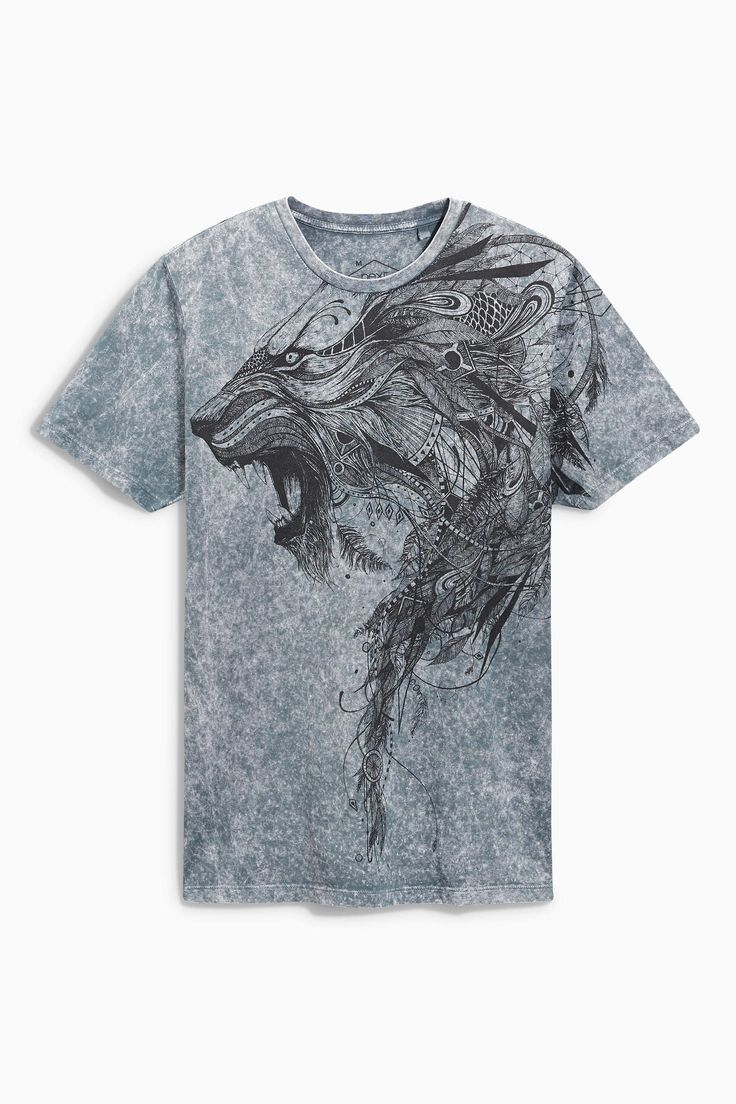 Buy Grey Acid Wash Lion T-Shirt from the Next UK online shop