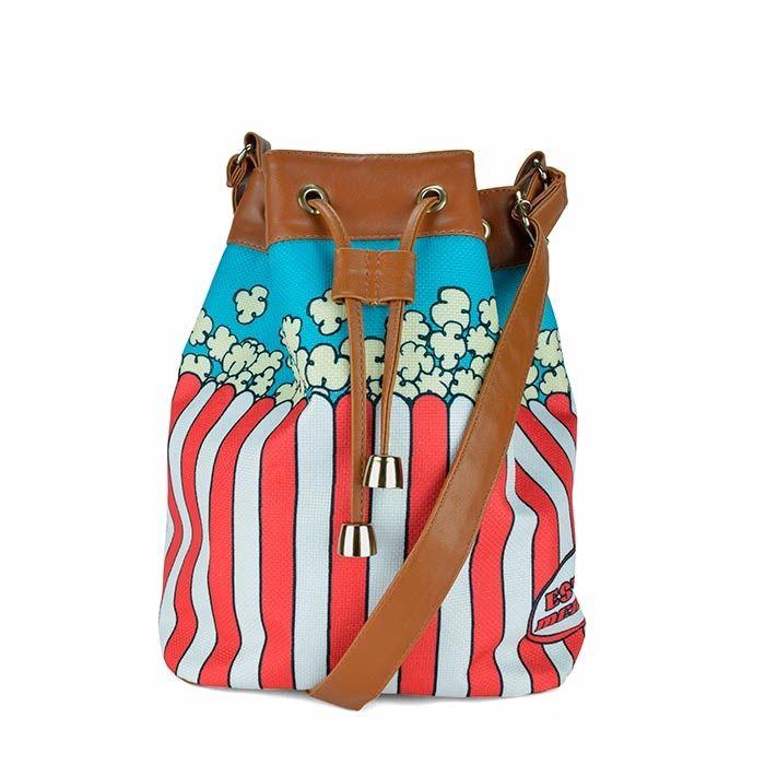 Bolsa Saco de Pipoca, ilustrada com o tema Popcorn Fashion da Coleção Junk Food. Estilo Menina - Colecione =D