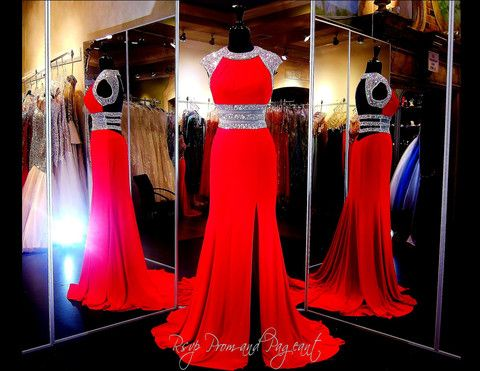 115EC0152040458 RED This stunning dress in sexy red features cap sleeves that are completely covered in sparkling iridescent stones and a wide waist band equally covered in AB Stones which continues into 3 sparkling straps over the sexy open back. ONLY at Rsvp Prom and Pageant in Lawrenceville, GA or buy it HERE http://rsvppromandpageant.net/collections/long-gowns/products/115ec0152040458-red