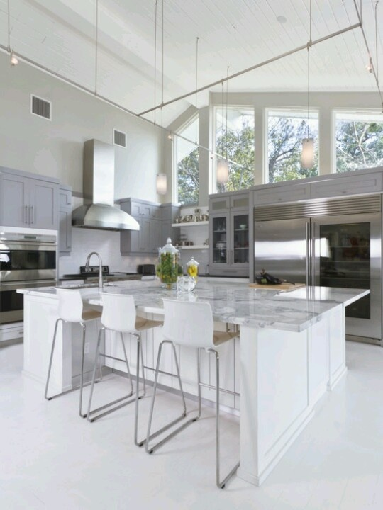 Stainless Steel & lots of natural lighting