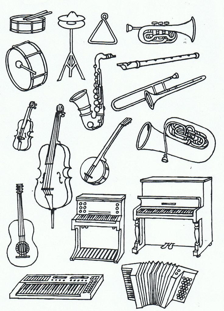 percussion instruments coloring pages - photo#21