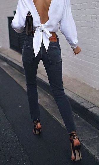 tie back + denim jeans