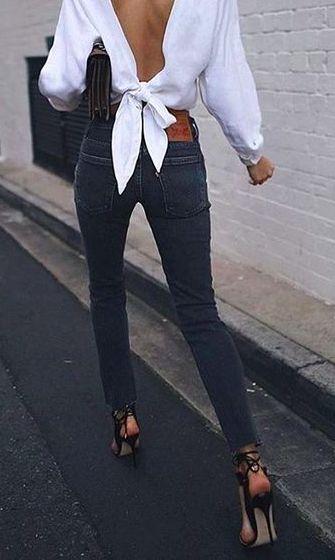 tie back + denim jeans