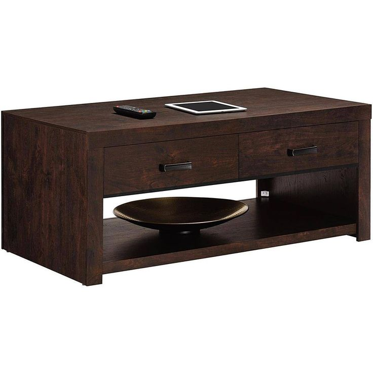 Dark Walnut Modern Wood Coffee Table Furniture For Living Room New #DealsToaday #Modern