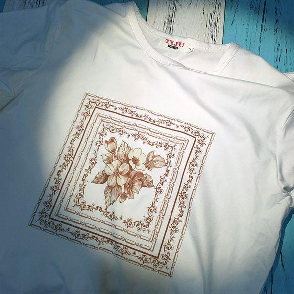 Baroque Art Flower Leaf Frame Modern Illustration Pattern Crew-Neck White T-shirt Spring and Summer Tagless Comfort Cotton Sports T-shirts Gift  #Baroque #Art #Flower #Leaf #Frame #Modern  #White #T-shirt #Spring #Summer #Tagless #Comfort #Cotton #Sports #Gift