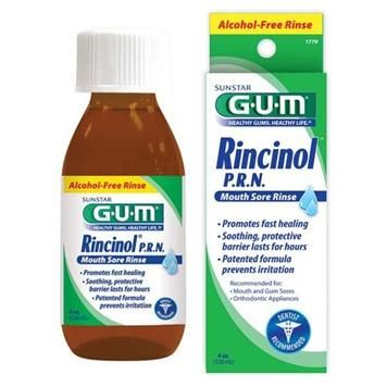 GUM® Rincinol is recommended for pain caused by: Mouth and gum sores, orthodontic appliances, cheek bites, mouth burns and denture irritation.