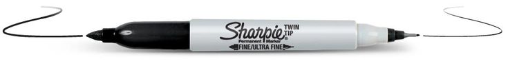 De Sharpie Twin tip permanent marker. Verbeterde functionaliteit met een fijne en een ultrafijne punt op één marker. Permanent op de meeste oppervlakken Lichtechte en watervaste inkt voor meerdere projecttoepassingen, Sneldrogende inkt,AP-gecertificeerd, niet-giftig. Verkrijgbaar op http://www.harolds.nl/p/tekenen/markersviltstiften/sharpie/pag/1/p/sharpie-twintip/