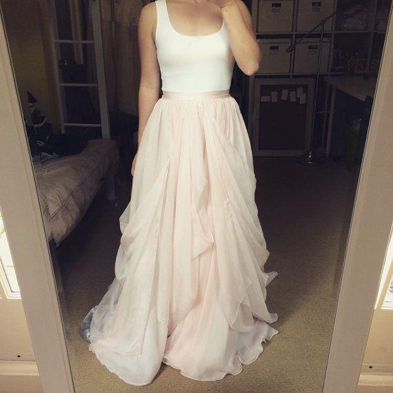 Best 25 wedding skirt ideas on pinterest modest wedding dresses blush chiffon wedding skirt size xs ready to wear by tingbridal junglespirit Images