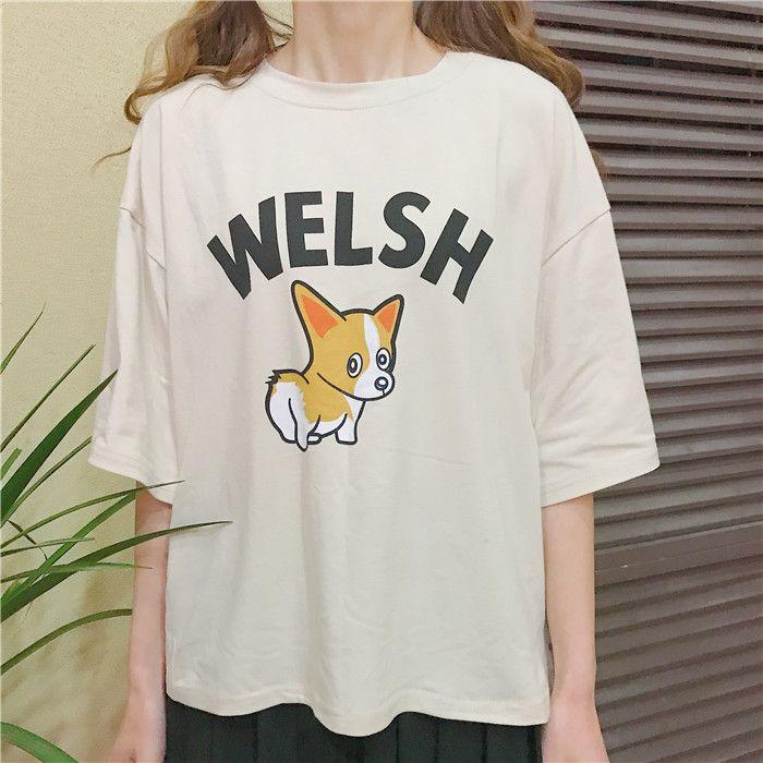 韓国系可愛い犬プリントゆったり半袖イエローTシャツ