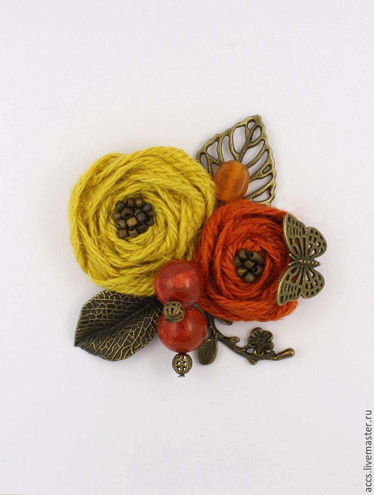 """Купить Брошь """"Солнечный закат"""" - брошь, текстильная брошь, брошь цветы, цветочная брошь"""