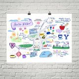 Homesick like Rory? This map of your favorite small town is ready to be popped in a standard poster frame or put up with washi tape to bring Stars Hollow int...