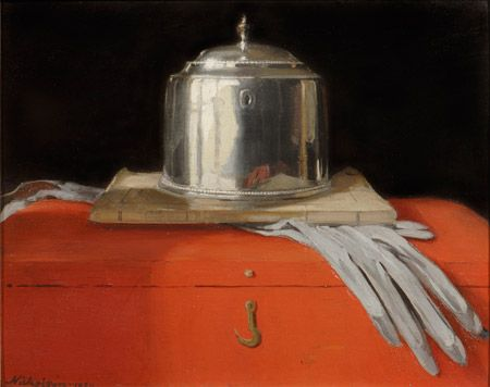 William Nicholson, Silver Casket and Red leather Box, 1920