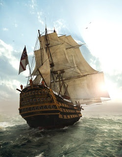 This image kind of has a 3D ness to it, almost makes you believe that you are watching ship take sail