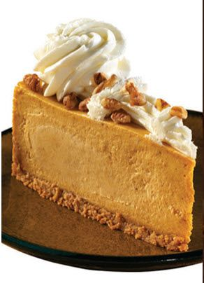 Cheescake Factory pumpkin cheesecake recipe showing cooked slice on dish