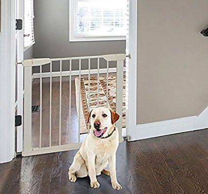Pawhut – Cancelletto di Sicurezza per Animali Domestici e Bambini Larghezza Regolabile in Ferro 65-72x74cm Bianco