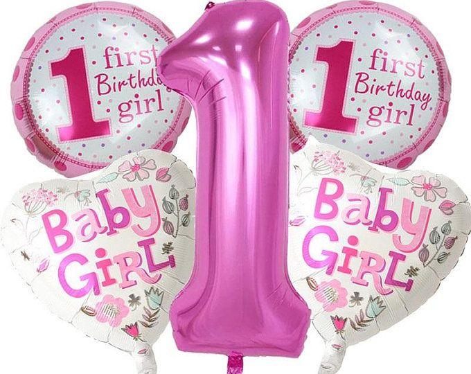 1st birthday girl Balloon, 5pcs helium balloon girl , boy Balloon, 1st birthday balloon girl, 1st birthday,