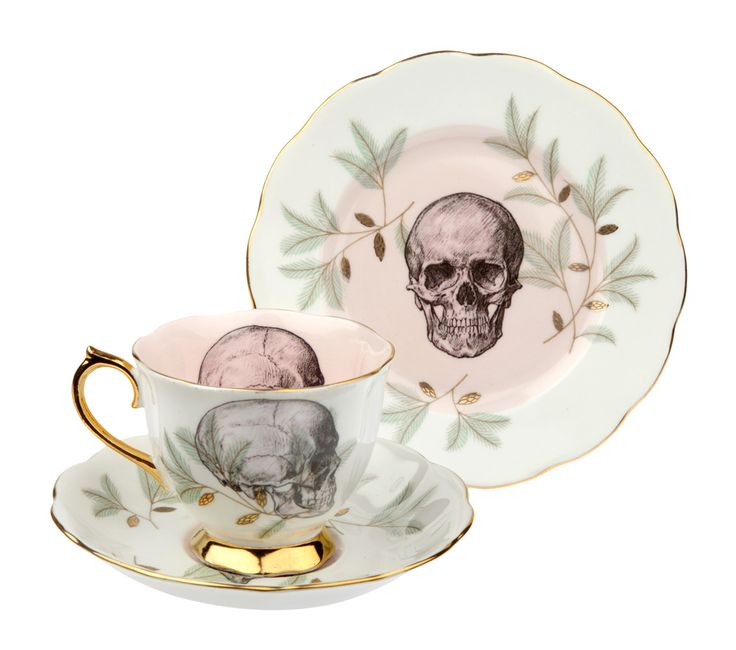 Skull on Royal Albert teacup