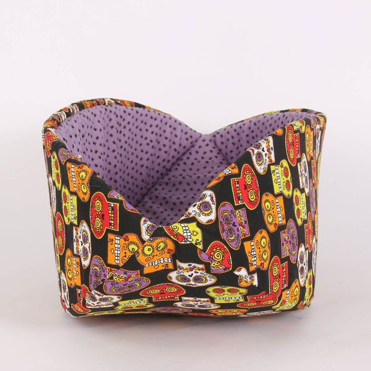 Canoe Modern Cat Bed in Sugar Skulls and Spiders