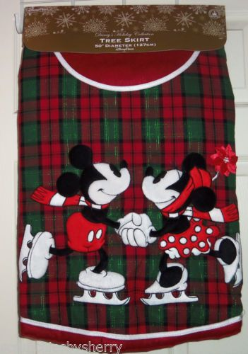 Disney Christmas Tree Skirt Minnie Mickey Mouse Plaid Red Green Theme Parks
