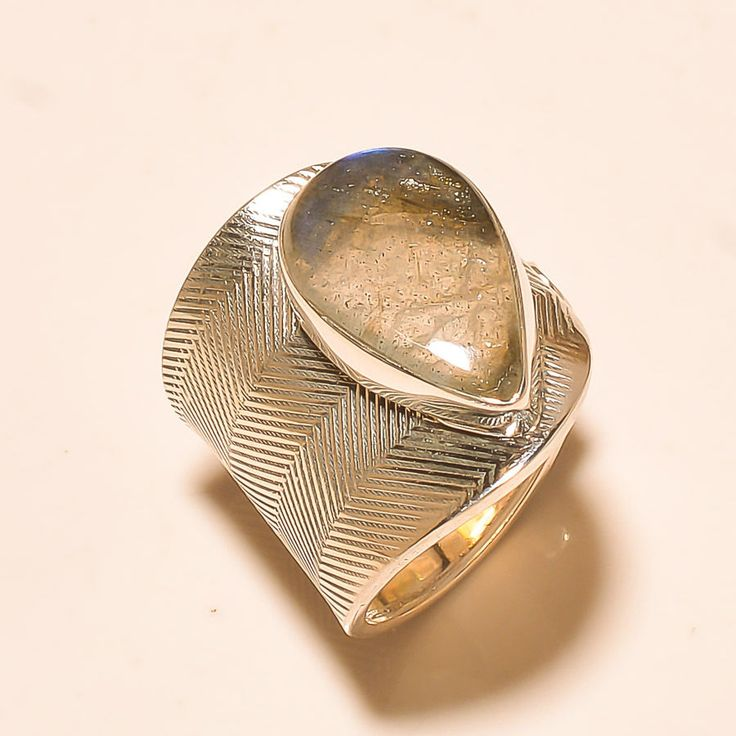 92.5% SOLID STERLING SILVER NATURAL PEAR SHAPE LABRADORITE RING (Adjustable)  #Handmade