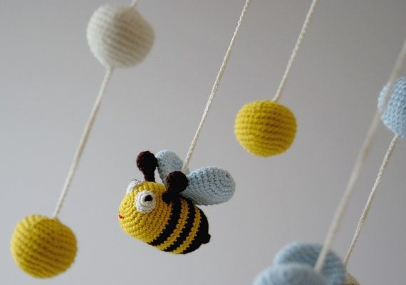 Baby Mobile Bee Mobile Crochet Hanging Crib by YarnBallStories, $64.00