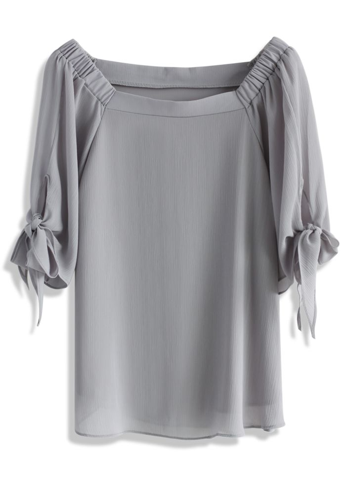 Bowknot Off-shoulder Chiffon Top in Grey - New Arrivals - Retro, Indie and Unique Fashion